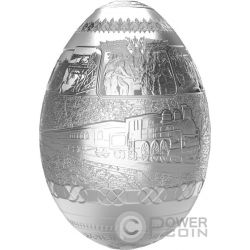 TRANS SIBERIAN RAILWAY EGG Imperial Faberge Eggs Proof 7 Oz Silver Coin 5000 Francs Cameroon 2016