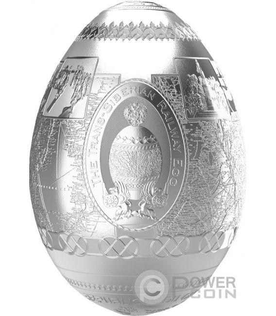 TRANS SIBERIAN RAILWAY EGG Uova Imperial Faberge Eggs Proof 7 Oz Moneta Argento 5000 Franchi Camerun 2016