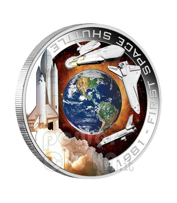 SHUTTLE COLUMBIA Primo Nello Spazio Moneta Argento 1$ Cook Islands 2010