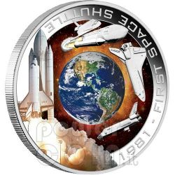 SHUTTLE COLUMBIA Primo Nello Spazio Moneta Argento 1$ Cook Islands 2010