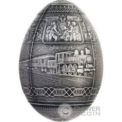 TRANS SIBERIAN RAILWAY EGG Imperial Faberge Eggs Antique Finish 7 Oz Moneda Plata 5000 Francs Cameroon 2016