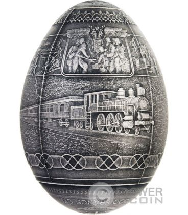TRANS SIBERIAN RAILWAY EGG Imperial Faberge Eggs Antique Finish 7 Oz Silver Coin 5000 Francs Cameroon 2016
