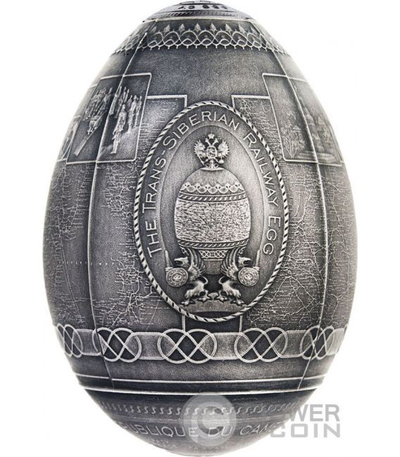 TRANS SIBERIAN RAILWAY EGG Imperial Faberge Eggs Antique Finish 7 Oz Silber Münze 5000 Francs Cameroon 2016