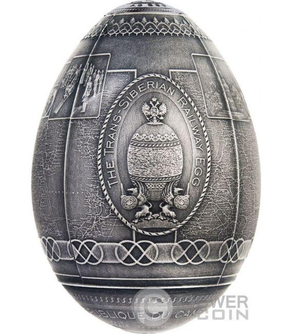 TRANS SIBERIAN RAILWAY EGG Uova Imperial Faberge Eggs Finitura Antica 7 Oz Moneta Argento 5000 Franchi Camerun 2016