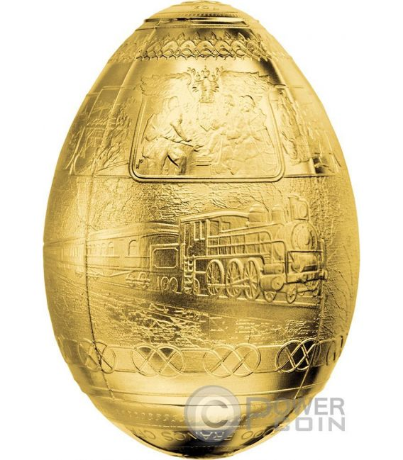 TRANS SIBERIAN RAILWAY EGG Imperial Faberge Eggs Oro Plated 7 Oz Moneda Plata 5000 Francs Cameroon 2016