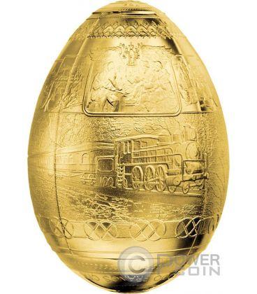 TRANS SIBERIAN RAILWAY EGG Uova Imperial Faberge Eggs Placcata Oro 7 Oz Moneta Argento 5000 Franchi Camerun 2016