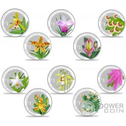 SPLENDOUR OF NATIVE ORCHIDS 10 Серебро Монета Set 1$ Сингапур 2016