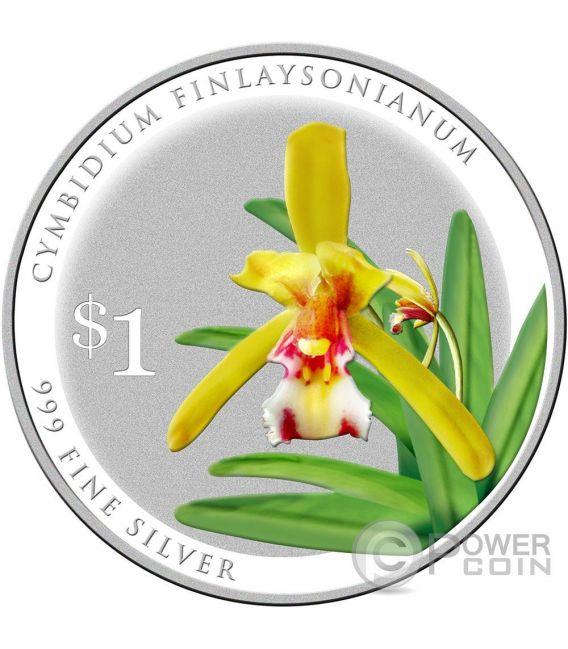 SPLENDOUR OF NATIVE ORCHIDS 10 Silber Münze Set 1$ Singapore 2016