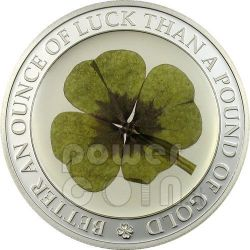 FOUR LEAF CLOVER Ounce Of Luck Moneda Plata 5$ Palau 2006