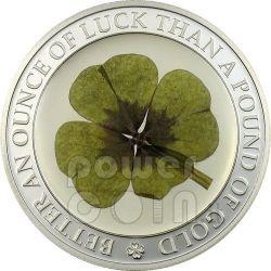 FOUR LEAF CLOVER Ounce Of Luck Silber Münze 5$ Palau 2006