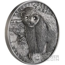 HONEY BADGER Mellivora Capensis Brave Animals 2 Oz Moneda Plata 2$ Niue 2015