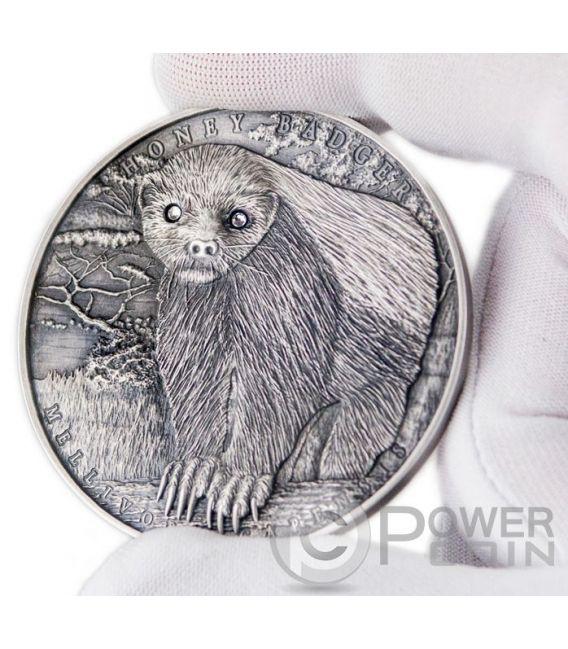 HONEY BADGER Mellivora Capensis Brave Animals 2 Oz Silver Coin 2$ Niue 2015