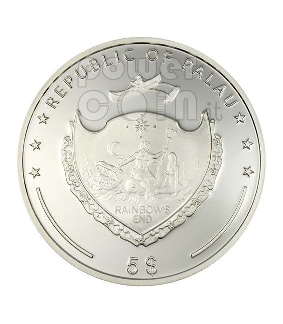QUADRIFOGLIO PORTAFORTUNA Moneta Argento 5$ Palau 2006