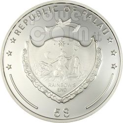 FOUR LEAF CLOVER Ounce Of Luck Silver Coin 5$ Palau 2006
