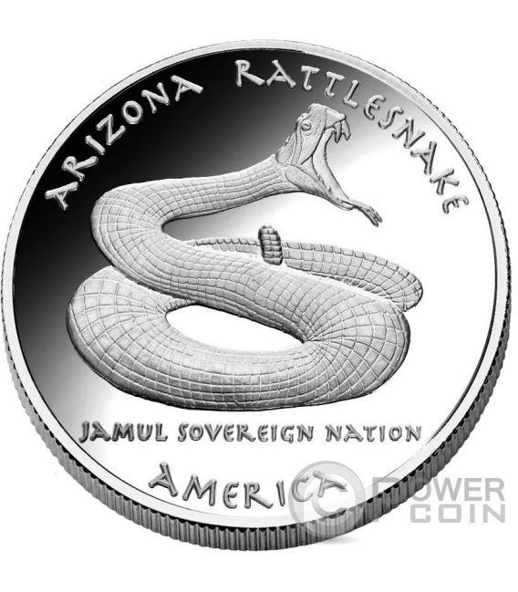 ARIZONA RATTLESNAKE Apache Native State 1 Oz Silver Coin 1$ Dollar Jamul 2016