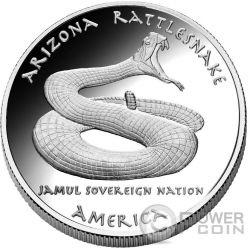 ARIZONA RATTLESNAKE Apache Native State 1 Oz Moneda Plata 1$ Dollar Jamul 2016