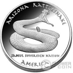 ARIZONA RATTLESNAKE Apache Native State 1 Oz Серебро Монета 1$ Dollar Jamul 2016