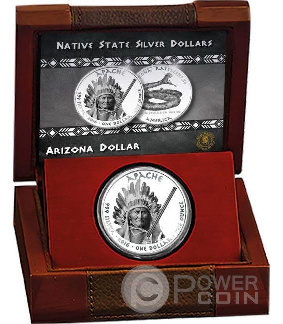 ARIZONA RATTLESNAKE Apache Riserva Indiana 1 Oz Moneta Argento 1$ Dollaro Jamul 2016