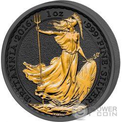 GOLDEN ENIGMA Britannia Black Ruthenium 1 Oz Moneda Plata 2£ United Kingdom 2016