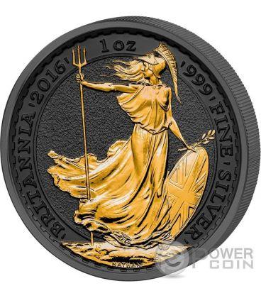GOLDEN ENIGMA Britannia Nera Rutenio 1 Oz Moneta Argento 2£ Regno Unito 2016
