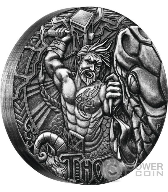 THOR Norse Gods The God Of Thunder 2 Oz Moneda Plata 2$ Tuvalu 2016