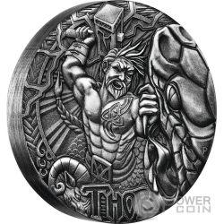 THOR Norse Gods The God Of Thunder 2 Oz Silver Coin 2$ Tuvalu 2016