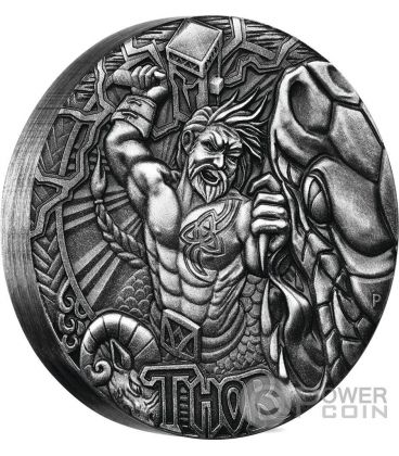 THOR Norse Gods Re Tuono The God Of Thunder 2 Oz Moneta Argento 2$ Tuvalu 2016