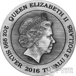 THOR Norse Gods The God Of Thunder 2 Oz Moneda Plata 2$ Tuvalu 2016