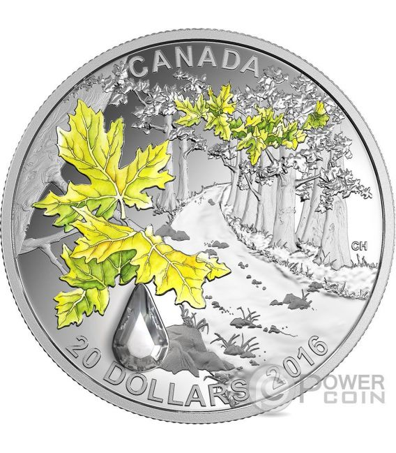 BIGLEAF MAPLE Jewel Of The Rain Swarovski Moneda Plata 20$ Canada 2016