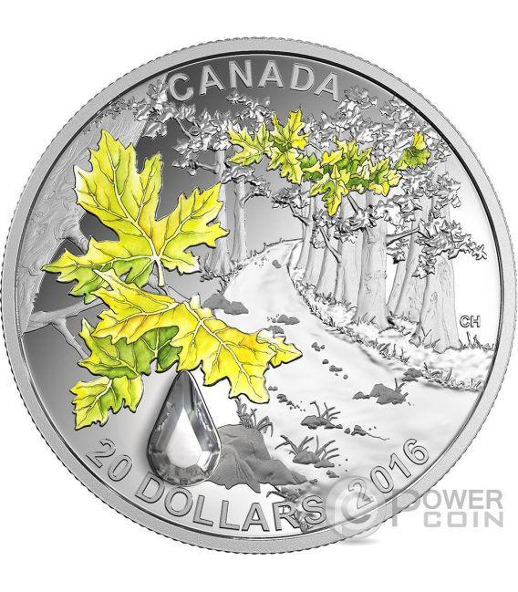 BIGLEAF MAPLE Jewel Of The Rain Swarovski Silber Münze 20$ Canada 2016