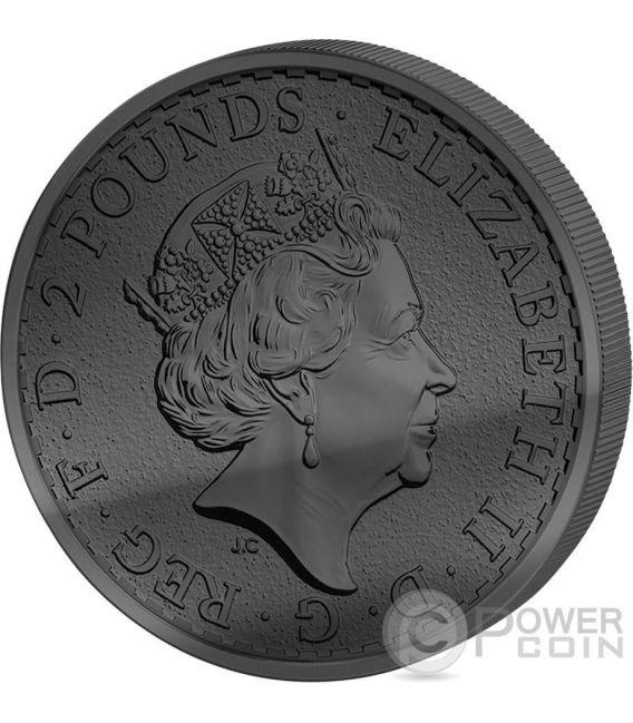 GOLDEN ENIGMA Britannia Black Ruthenium 1 Oz Silver Coin 2£ United Kingdom 2016