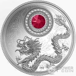 BIRTHSTONES JULY Gemstone Swarovski Silver Coin 5$ Canada 2016