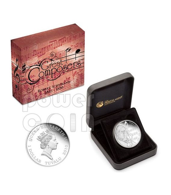 SCHUMANN Robert Great Composers Silver Coin 1$ Tuvalu 2010