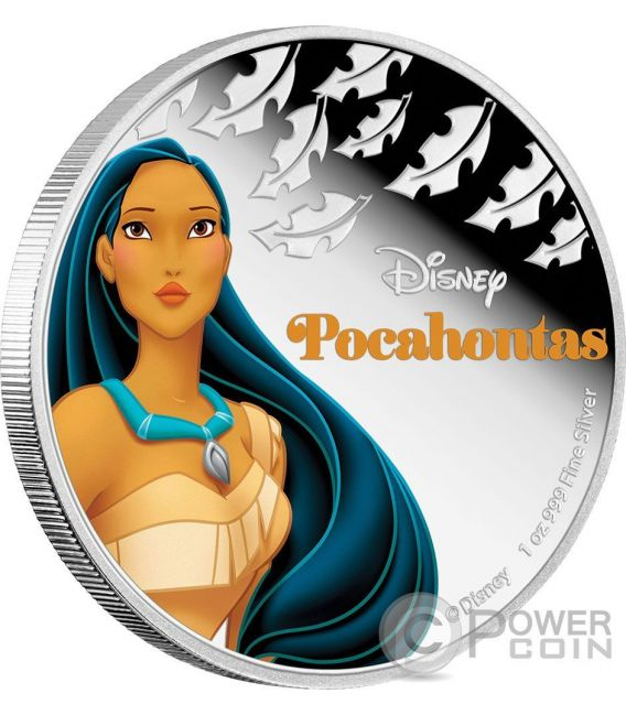 POCAHONTAS Disney Princess 1 Oz Plata Proof Moneda 2$ Niue 2016