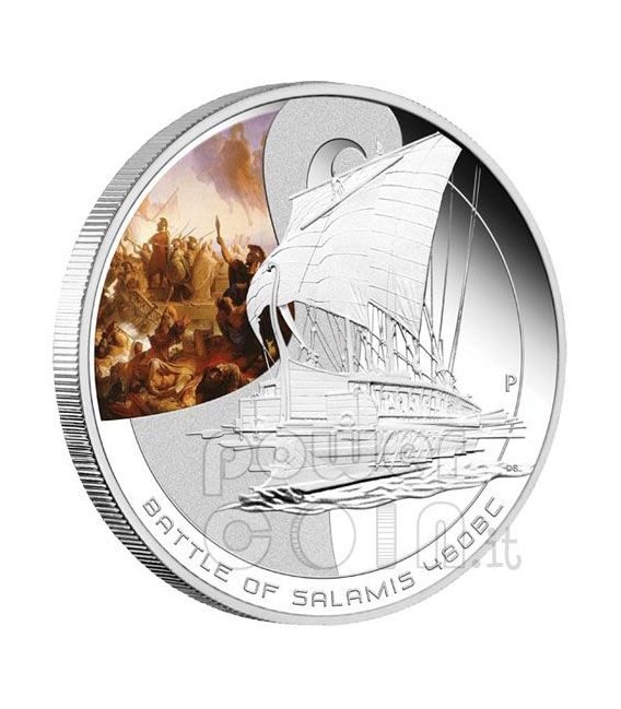 SALAMIS Naval Battle 480 BC Silver Coin 1$ Cook Islands 2010