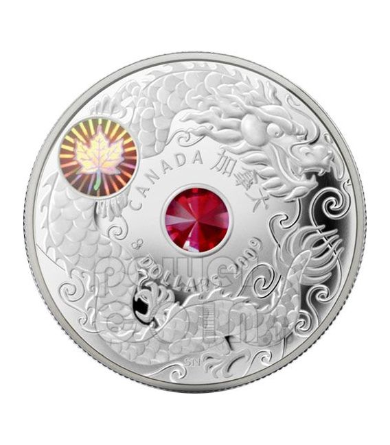 MAPLE OF WISDOM Leaf Silver Coin Swarovski Hologram 8$ Canada 2009