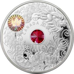 MAPLE OF WISDOM Leaf Moneda Plata Swarovski Hologram 8$ Canada 2009