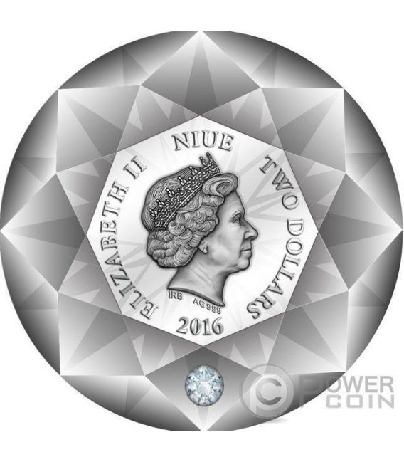 DIAMOND 3D Shape Silver Coin 2$ Niue 2016