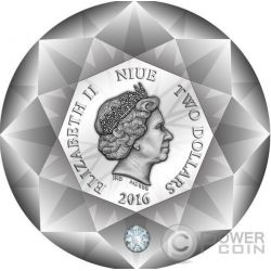 DIAMOND 3D Shape Moneda Plata 2$ Niue 2016