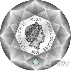 DIAMOND 3D Shape Серебро Монета 2$ Ниуэ 2016