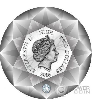 DIAMOND 3D Shape Forma Diamante Moneta Argento 2$ Niue 2016
