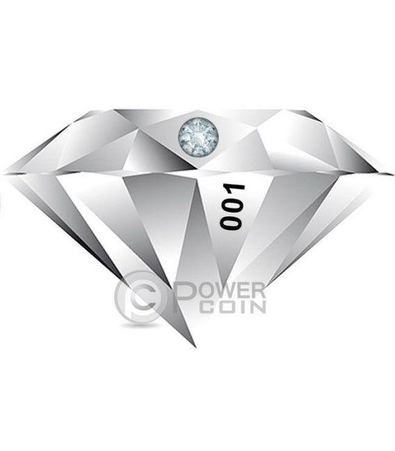 DIAMOND 3D Shape Moneda Plata 2$ Niue 2016