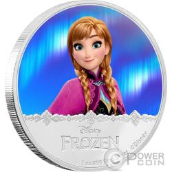 ANNA Disney Frozen Magic of the Northern Lights 1 Oz Moneta Argento 2$ Niue 2016