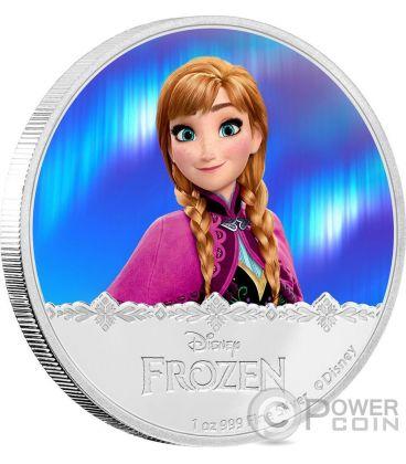 ANNA Disney Frozen Magic of the Northern Lights 1 Oz Moneta Argento 2$ Niue 2016