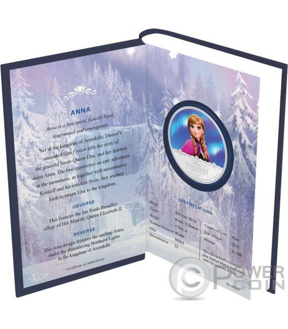 ANNA Disney Frozen Magic of the Northern Lights 1 Oz Moneda Plata 2$ Niue 2016