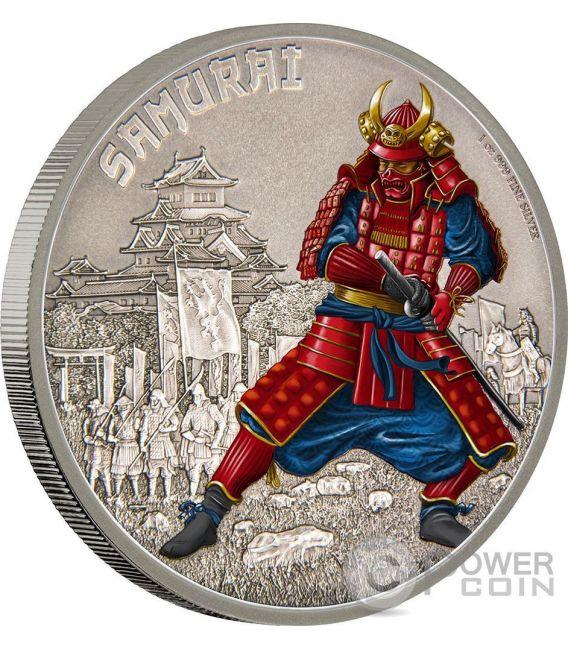 SAMURAI Warriors of History Guerrieri della Storia 1 Oz Moneta Argento 2$ Niue 2016