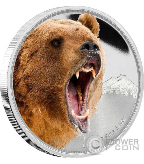 GRIZZLY BEAR Kings of the Continents 1 Oz Silber Münze 2$ Niue 2016
