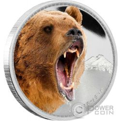 GRIZZLY BEAR Kings of the Continents 1 Oz Moneda Plata 2$ Niue 2016