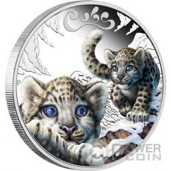 SNOW LEOPARD CUBS Baby Silber Münze 50 Cents Tuvalu 2016