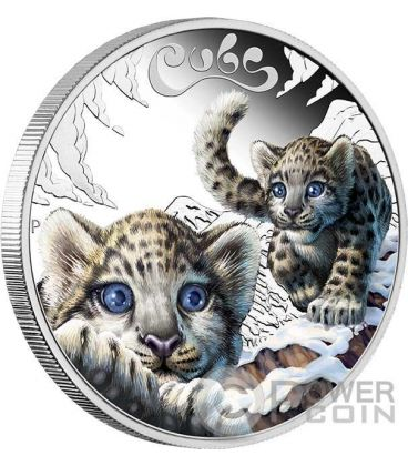 SNOW LEOPARD CUBS Baby Silver Coin 50 Cents Tuvalu 2016